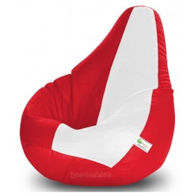 Bean Bag Xxl-red&white-filled(with Beans)