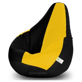 Bean Bag-xxl Black&yellow-filled(with Beans)