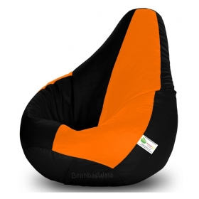 Bean Bag-xxxl Black&orange-filled(with Beans)