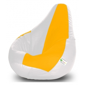 Bean Bag-xxxl White & Yellow-filled(with Beans)