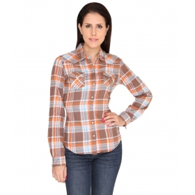 Checks Full Sleeves Orange Cotton Shirts