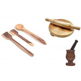 Desi Karigar Wooden Tools Of Kitchen (set Of 7)