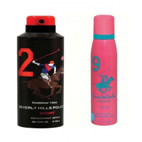 Beverly Hills Polo Club Sport Deodorant Spray No 2 For Men & No 9 For Women (pack Of 2)