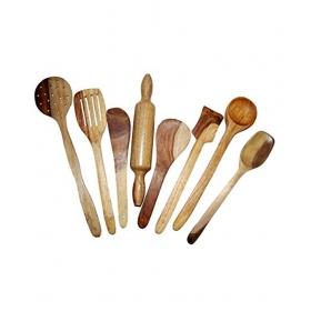 Desi Karigar Wooden Spoon Set Of 8 Pcs/ Wooden Spatula, Ladle & Kitchen Tools Set