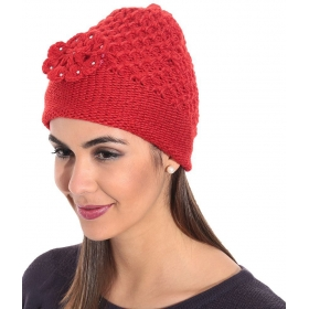 Red Woollen Cap For Women