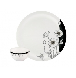 Borosil 22 Piece Melamine Dinner Set Milano Black Buds
