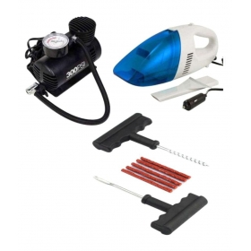 Combo Pack Of Car Vacuum Cleaner And Air Pump And Puncture Kit