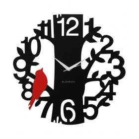 Red & Black Laminated Aluminium Sparrow On Tree Wall Clock