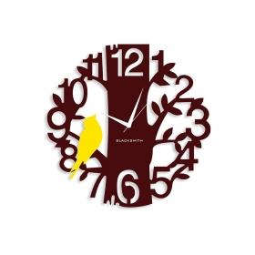 Blacksmith Yellow & Brown Laminated Aluminium Sparrow On Tree Wall Clock