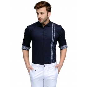 Edjoe Men's Navy Two Vertical Line Slimfit Casual/club/partywear Shirt, Bledms0140