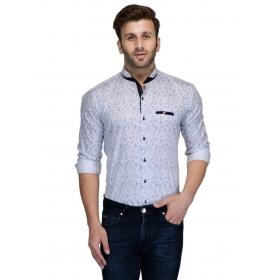 Edjoe Men's Printed Slimfit Casual/club/partywear Shirt, Bledms0145
