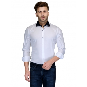 Edjoe Men's White With Navy Elbow Patch Slimfit Casual/club/partywear Shirt, Bledms0156