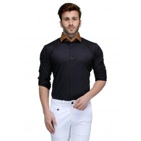 Edjoe Men's Black With Brown Elbow Patch Slimfit Casual/club/partywear Shirt, Bledms0157