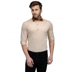 Edjoe Men's Fone With Brown Elbow Patch Slimfit Casual/club/partywear Shirt, Bledms0159