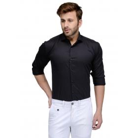 Edjoe Men's Black Solid Slimfit Casual/club/partywear Shirt, Bledms0164