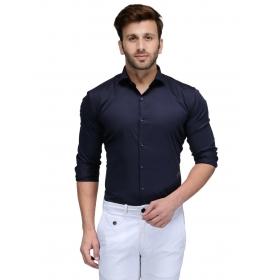 Edjoe Men's Navy Solid Slimfit Casual/club/partywear Shirt, Bledms0165