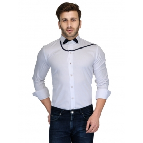 Edjoe Men's White Bow Slimfit Casual/club/partywear Shirt, Bledms0167