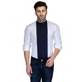 Edjoe Men's Contrast Color Slimfit Casual/club/partywear Shirt, Bledms0175