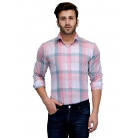 Edjoe Men's Checks  Printed Slimfit Casual/club/partywear Shirt, Bledms0182
