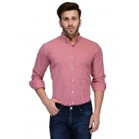 Edjoe Men's Red Checks  Printed Slimfit Casual/club/partywear Shirt, Bledms0187