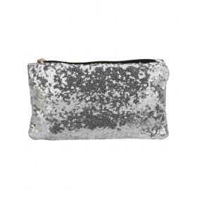 Silver Sequins Zipper Women's Clutch