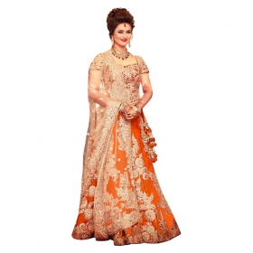 Orange Bhagalpuri Silk Circular Semi Stitched Lehenga
