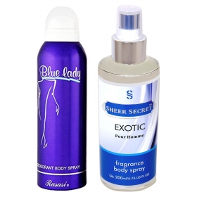 Blue Lady Women 200 Ml With Sheer Secret Exotic Men 200 Ml