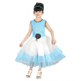 Blue Net Frock For Girls