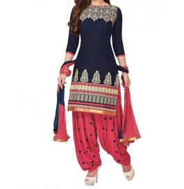 Blue Patiyala Cotton Embroidered Salwar Suits Dress Material Pack Of 2