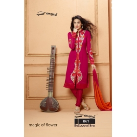 Faux Georgette Embroidered Semi Stitched Salwar Kameez