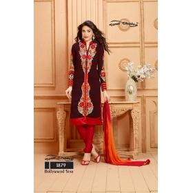 Faux Georgette Embroidered Semi Stitched Salwar Kameez