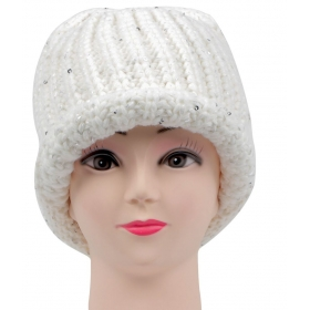 White Woolen Cap For Women