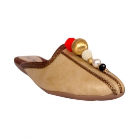 Gold Flat Ethnic Footwear