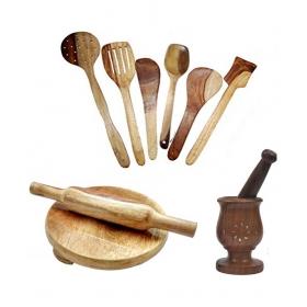 Desi Karigar Wooden Ladle Set Of 6 + 1chakla + 1belan + Mortar & Petle Set