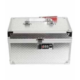 Silver Vanity Box With Number Lock Makeup Box With Free 1 Pair Of Socks For Men