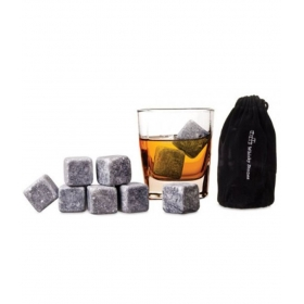 Whiskey Plastic Stones Wine Beer Vodka Drink Cooler Dry Ice Cube With Velvet Pouch - Pack Of 9
