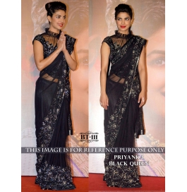Creations Fab Net Black Sarees