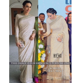 Creations Ideal Georgette White Sarees