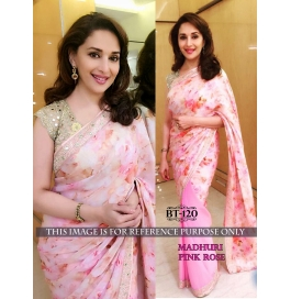 Creations Grand Georgette Pink Sarees
