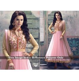 Creations Best Fab Net Pink Anarkali