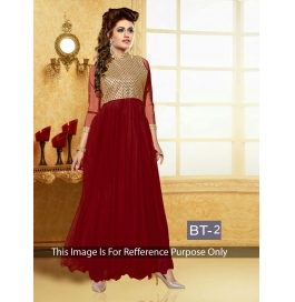 Creations Rad Super Georgette Maroon Gowns