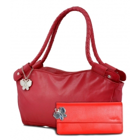 Butterflies Red Faux Leather Combo