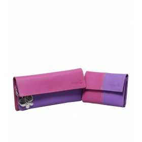 Butterflies Pink And Purple Long And Regular Wallet Combo