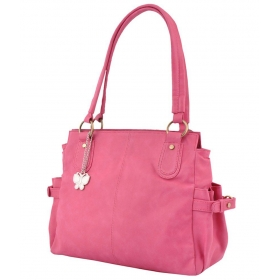 Butterflies Pink Faux Leather Shoulder Bag