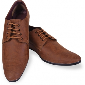 Men's Formal Shoes With Texture Lace Up  (brown)