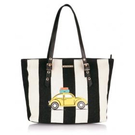 Caprese Black Canvas Shoulder Bag