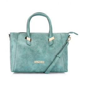 Blue Faux Leather Tote Bag