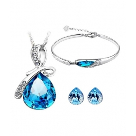 Blue Water Drop Style Austrian Crystal Pendant Set With Earrings And Bracelet