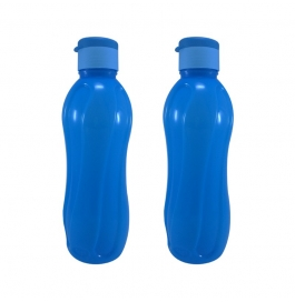 Flip Top Plastic 1000 Ml Bottle (blue, Pack Of 2)