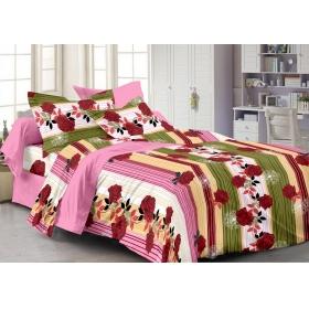 Cenizas 100% Cotton Double Bedsheet With 2 Pilow Cover( J5120b )